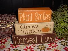 thanksgiving signs and sayings | These rustic Thanksgiving Blocks from Simple Block Sayings would be ...