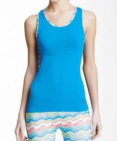 Another great find on #zulily! Electric Blue & Pink Piped Seamless Tank by Balanced Tech #zulilyfinds