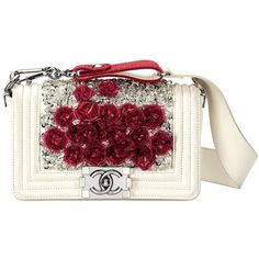 Chanel Boy Leather Bag White and Red with flowers Wish List ❤ liked on Polyvore featuring bags, handbags, chanel, purses, handbag purse, white leather purse, leather purses, chanel purse and white leather handbags