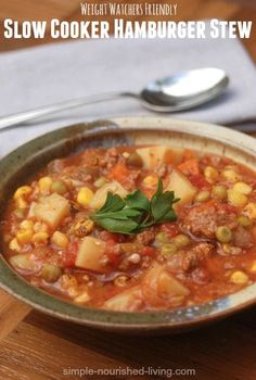 Simple, Hearty, Healthy & Delicious Crock Pot Hamburger Stew. A family favorite. 178 calories and 4 Points Plus. http://simple-nourished-living.com/2014/12/slow-cooker-hamburger-stew-recipe/