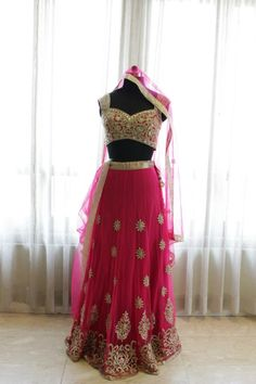 This lehenga choli is in rose pink color having thread and zari work. This lehenga is on sale on our website for a limited period