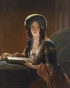 Fatima di Smirne Ippolito Caffi (Italian, Oil on canvas. This work comes very close to a painting of 1839 by the Austrian Biedermeier painter Friedrich von Amerling. Illustrations, Illustration Art, Gypsy Girls, Woman Reading, Reading Art, Friedrich, European Paintings, Book People, Global Art