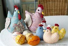 !!!!♥ Feltro-Aholic Moldes e tutoriais em feltro: Molde Família Galo, Galinha,Pintinho e Ovos de Patchwork