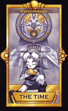 """Young Link, The Time card. This one is Major Mask related. Sorry it took longer than expected."""" ============================= For more Super Smash Tarot Cards, The Legend Of Zelda, Legend Of Zelda Breath, Super Smash Bros, Twilight Princess, Breath Of The Wild, Creepypasta Anime, Pokemon, Yoshi, Hyrule Warriors"""