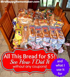 Yesterday I posted a picture of the bread deal I get regularly. Here is my secret behind it, and what all I use it for - including saving money on feeding my chickens, making bread crumbs, & preparing huge batches of homemade Uncrustables for the freezer! This deal also allows me to regularly donate to our local food ministry!