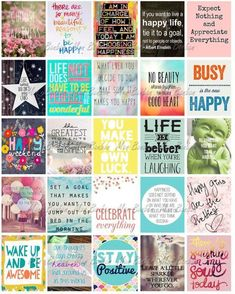 Happy Inspirational and Motivational Printable Sticker Sheet – Print at Home Happy Life Planner Quotes – fits Erin Condren Life Planner These printable Happy Inspirational and Motivational sticker images are a fun and colorful. Planner Stickers, Printable Stickers, Printable Planner, Free Printables, Printable Quotes, Image Stickers, Cute Stickers, Label Stickers, Bumper Stickers