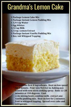 13 Desserts, Lemon Desserts, Lemon Recipes, Sweet Recipes, Delicious Desserts, Yummy Food, Baking Recipes, Lemon Mirangue Pie Recipe, Light Lemon Cake Recipe