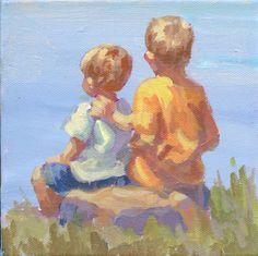 Two boys on the beach 6 x 6 original acrylic by LucelleRaad