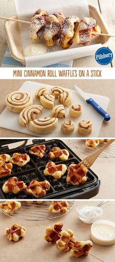 Fair food only come around once a year. Give it a go by making these Mini Cinnamon Roll Waffles (and of course, they are on a stick!). While you're at it, drizzle or dip the waffles into decadent icing too!