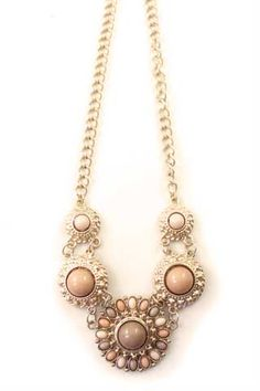 Tribal Floral Pink Gemstones Pendant Necklace (got one just like this the other day!)