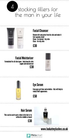 4 Christmas Stocking stuffers / fillers present ideas for Men. If your man likes to take care of his appearance our skin care range is just what you need this Christmas. starting at £30. www.lookatmylashes.co.uk