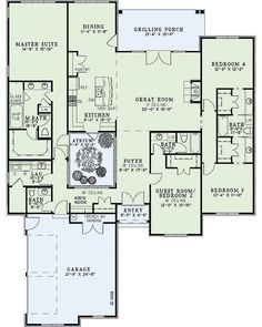 With an atrium? Split floorplan, love the shared bathroom between the two bedrooms (good for girls), and love the atrium; would a hot tub work in that space? The Plan, How To Plan, Plan Plan, Dream House Plans, House Floor Plans, My Dream Home, Dream Houses, Unique House Plans, Maison Atrium