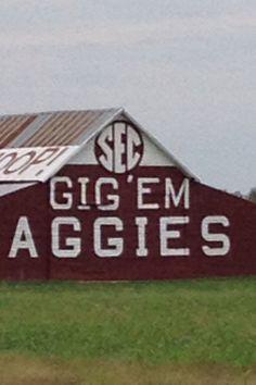 The SEC logo on the Aggie barn.