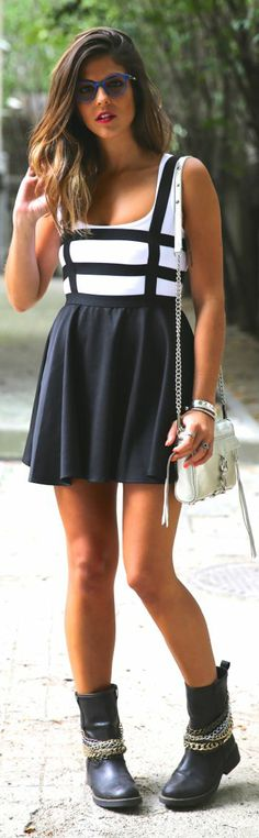Choies Back And White Caged Print Top Black Bottom Skater Dress