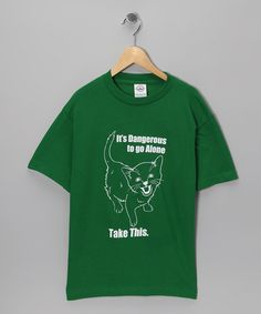 Take a look at this Crazy Dog Green Danger Cat Tee - Boys by Action Hero: Boys' Tees on #zulily today!