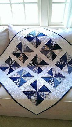 Pinwheel Quilt Pattern PDF Patriotic Quilt Patterns Beginner Quilt Pattern Baby Quilts Blue and White Quilt