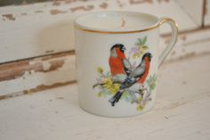 Candle in tiny vintage tea cup w/ birds. $8.00, via Etsy. #shopellion