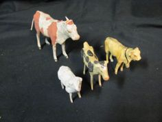 Lot of 4 Putz Vintage Nativity Composition Animals Cow Bull Sheep Goat Germany