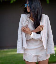 Zara top & shorts, Lovers + Friends jacket, Westward Leaning sunglasses.