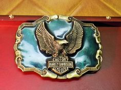 Vintage Rare Harley Davidson Motorcycle Belt Buckle with Green Enamel inlay by IZZYSCollectibles on Etsy