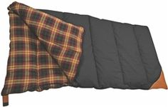 """• Canvas outer shell with flannel lining   • Siliconized """"POLYSOFT"""" insulation   • Inner neck draft collar  • Full opening 2 way zipper with web zipper guard  • Full length insulated draft tube   • Complete with carry case  Fill weight: 4.5 lbs (2.2 kg)  Comfort range: –15° C (5° F)    Size: 40"""" × 80"""" (102 × 203 cm)                   Colour: BLACK/TAN"""
