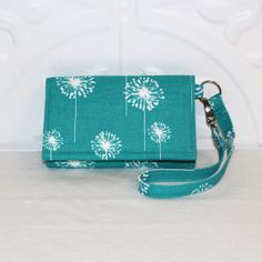 NEW STYLE TECH Cell Phone Case Wristlet Wallet for iPhone - Galaxy S4 Smart Phones / Teal Green Dandelion