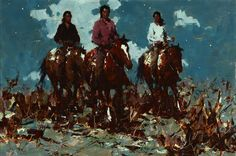 Lot# 124 Burt Procter (1901-1980 Palm Springs, CA)Three mounted riders, oil on masonite, 20'' H x 30'' W, est: $5000/7000 *Price Realized: $6,600.00