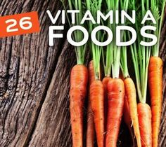 26 Foods High in Vitamin A: Carrots, Iceberg Lettuce, Sweet Potatoes, Cod Liver Oil, Red Pepper, Turkey Liver, Paprika, Mangoes, Whole Milk, Mustard Greens, Butternut Squash, Dried Basil, Kale, Canteloupe, Peas, Turnip Greens, Dried Apricots, Tomatoes, Dried Marjoram,  Spinach, Peaches, Papaya, Red Bell Peppers, Dandelion Greens, Beef Liver, Fortified Oatmeal