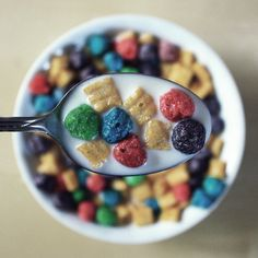 the colouring looks so sickening... but it's an interesting way to take a pic of cereal :) Honey Nut Cheerios, Food Videos, Trix Cereal, Cereal Food, Cereal Cafe, Kids Cereal, Cereal Recipes, Food Gifs, Cocoa Puffs