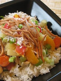 Hawaiian Haystacks!  I use milk instead of water in the broth and add cream cheese too!  You can really use any vegetable that you want.