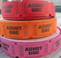 Single Tickets Red Orange or Pink / Choice di SandrasCornerStore