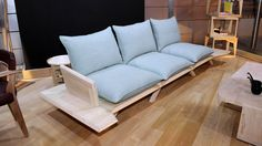 my woodness! is a solid wood sofa that can be broken down and re-assembled in just a few minutes. Outdoor Sofa, Outdoor Furniture, Outdoor Decor, Unique Furniture, Furniture Design, Furniture Ideas, Wood Sofa, Space Saving Furniture, Rv Living
