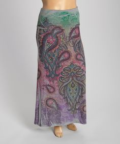 Charcoal & Pink Paisley Maxi Skirt - Plus by Poliana Plus #zulily #zulilyfinds
