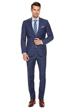 'T- Harvers/Glover' | Slim Fit, Tailored Italian Virgin Wool Blend Plaid Suit, Dark Blue.  1395