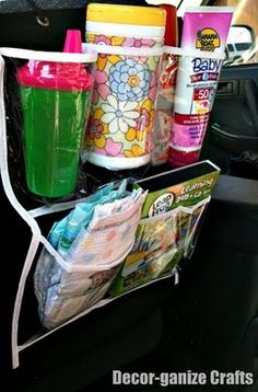 Car Organizer- I love the idea of keeping wipes, bug spray and sun kick in their instead of bulking up the diaper bag.