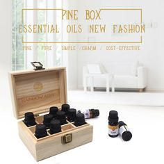 Wooden Storage Box Case Container Essential Oil Aromatherapy Bottles Organizer | eBay