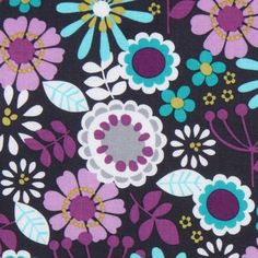gray Michael Miller fabric Lazy Daisy purple flowers  beautiful fabric with purple, white & blue flowers from the USA