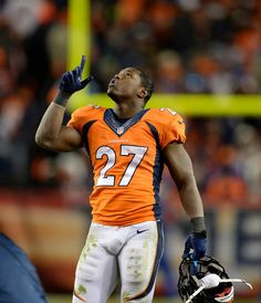 Denver Broncos running back Knowshon Moreno (27) gives thanks as the Denver Broncos beat the San Diego Chargers 24-17.  #ProFootballDenverBroncos
