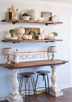 Farmhouse table plans & ideas find and save about dining room tables . See more ideas about Farmhouse kitchen plans, farmhouse table and DIY dining table Rustic Farmhouse Decor, Farmhouse Table, Rustic Decor, Farmhouse Kitchens, Farmhouse Design, Farmhouse Ideas, Rustic Buffet, Farmhouse Furniture, Farmhouse Shelving