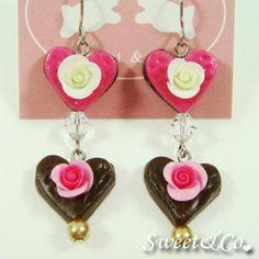 Sweet Lover Heart Rose Chocolate Earrings