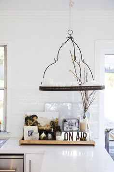 Kitchen decor - on my breakfast bar - Modern beach house style by the style files. Hanging Candles, Candle Chandelier, Hanging Chandelier, Kitchen Chandelier, Rustic Chandelier, Breakfast Bar Lighting, Hanging Light Fixtures, Home And Deco, Interior Exterior