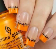 Halloween French nails by See more amazing nail art videos with the FREE Song: Stitches - Shawn Mendes Nail Art Designs, Ombre Nail Designs, Toe Nail Designs For Fall, Nails Design, Halloween Nail Designs, Halloween Nail Art, Creepy Halloween, French Nails, Holloween Nails
