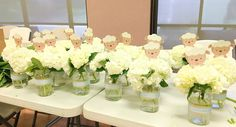 Little Lamb White Floral Centerpieces for Baby Shower Marcys Mess