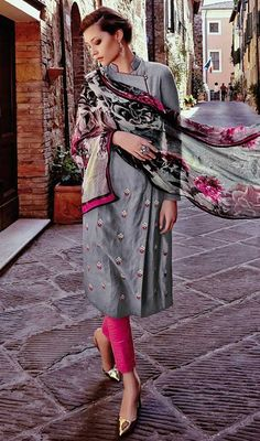 Look voguish and trendy with this gray color embroidered salwar kameez. Beautified with lace and resham work. #GrayAndPinkCigarettePantDress