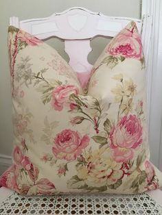 Shabby Chic Pillow Cover Cottage Pillow by CynthiaMooreDesigns Shabby Chic Pillows, Shabby Chic Decor, Romantic Cottage, Cottage Chic, Nautical Home, Pink Houses, French Decor, Antique Prints, Vintage Inspired