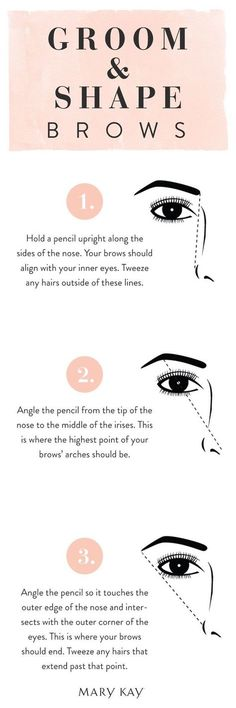 Well-groomed, defined eyebrows can make your face look years younger. Brush brows gently and tweeze along the natural brow lines. Here is how to use a pencil as a guide to create flattering arches. Click for more makeup hacks and how-to's! | Mary Kay #Brows #makeuptutorialeyebrow