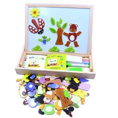 $31.78 - Nice Multifunctional Wooden Chalkboard Animal Magnetic Puzzle Whiteboard Blackboard Drawing Easel Board Arts Toys for Children Kids - Buy it Now!