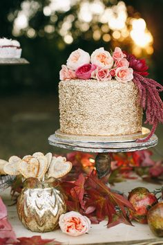 gold wedding cake, photo by Photography by Charise http://ruffledblog.com/a-late-fall-inspiration-shoot-in-california #weddingcake #cakes