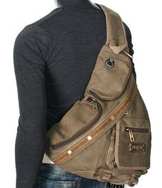 ModernManBags.com - Men's Rugged Military-style Single-shoulder Crossbody Canvas Backpack - Khaki Tan, $39.99 (http://www.modernmanbags.com/mens-rugged-military-style-single-shoulder-crossbody-canvas-backpack-khaki-tan/)