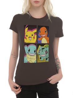 Fitted grey Pokemon tee with a colorful design of starters including Pikachu. Pika Pika!!